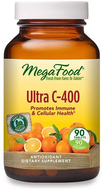 MegaFood, Ultra C-400, Supports Immune and Cellular Health, Antioxidant Vitamin C Supplement, Vegan, 90 Tablets