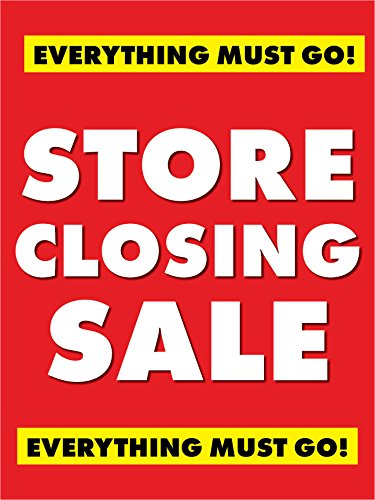 Store Closing Sale Retail Display Sign, 18