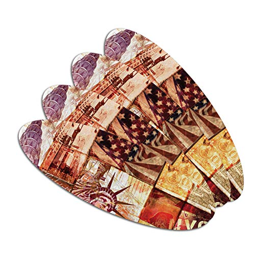 New York City Statue Liberty Tile Collage Double-Sided Oval Nail File Emery Board Set 4 Pack