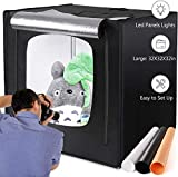 amzdeal Photography Light Box 32in Upgraded Photo Studio Professional Photography Tent with LED Light 3 Backdrops (White Black Orange)