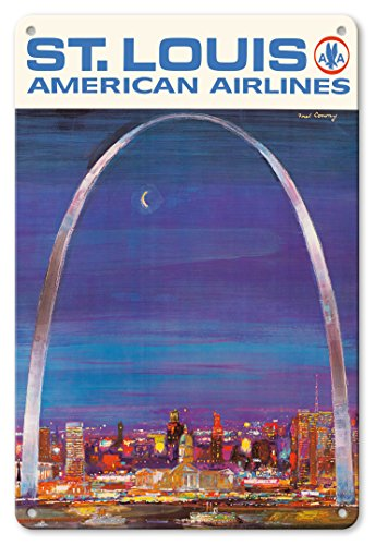 Pacifica Island Art 8in x 12in Vintage Tin Sign - St. Louis Missouri - The Gateway Arch - American Airlines by Frederick Conway