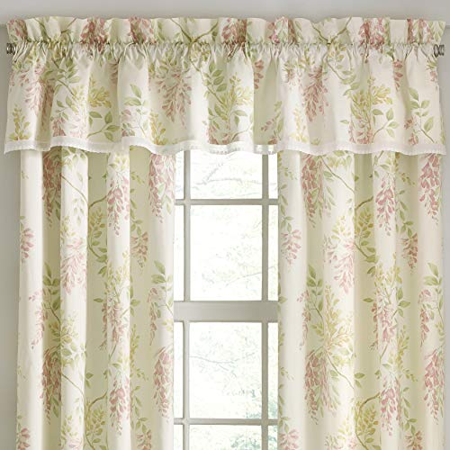 (Five Queens Court Weatherly Floral Straight Window Valance, Ivory )