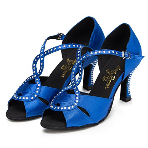 5 Doris Salsa Party Rhinestone Morden Ballroom Tango Blue Dance Shoes Wedding Women's Glitter Professional US Satin B 5 Latin M awrqxISa