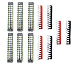 XLX 12pcs (6 Set) 600V 15A 12 Positions Double Row Screw Terminal Strip and 400V 15A 12 Positions Red/Black Pre-Insulated Terminal Barrier Strip