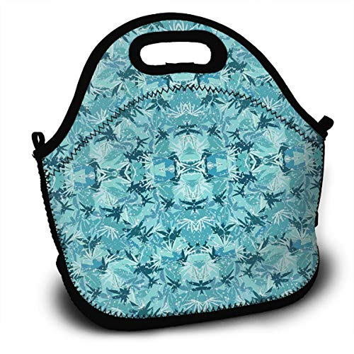 Camo Sparkle (JHDGUA Sparkle Turquoise Camo Reusable Insulated Lunch Box Tote Bag with Shoulder Strap and Zipper for Adults Kids Nurse Teacher Work Outdoor Travel Picnic)