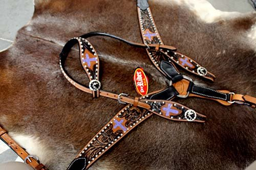 PRORIDER Horse Show Tack Bridle Western Leather Headstall Breast Collar Purple 8322co379 ()