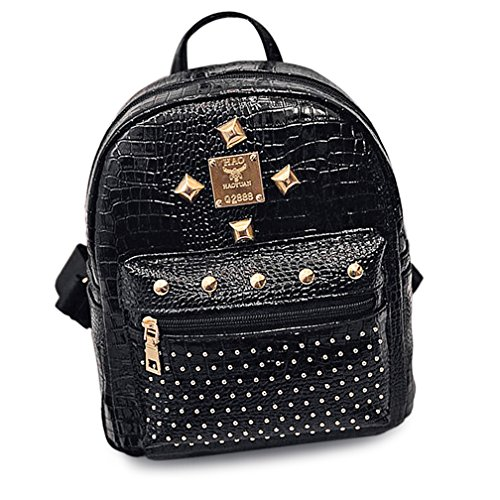Eve's Charisma PU Faux Crocodile Skin Studded Small Backpack Lightweight Casual Fashion Bag - Faux Crocodile Skin Handbag