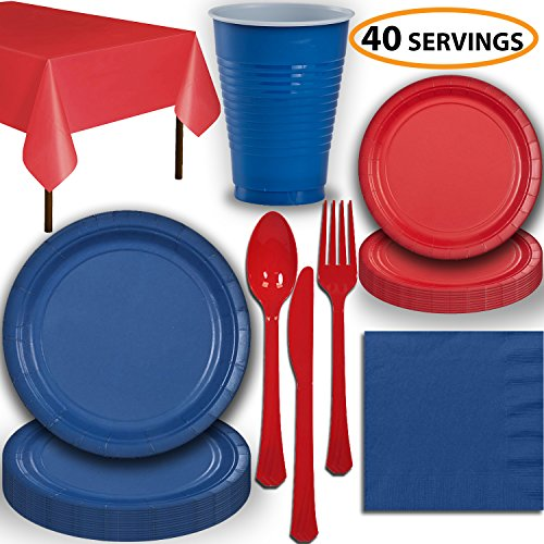 Disposable Party Supplies, Serves 40 – Blue and Red – Large and Small Paper Plates, 12 oz Plastic Cups, Heavyweight…