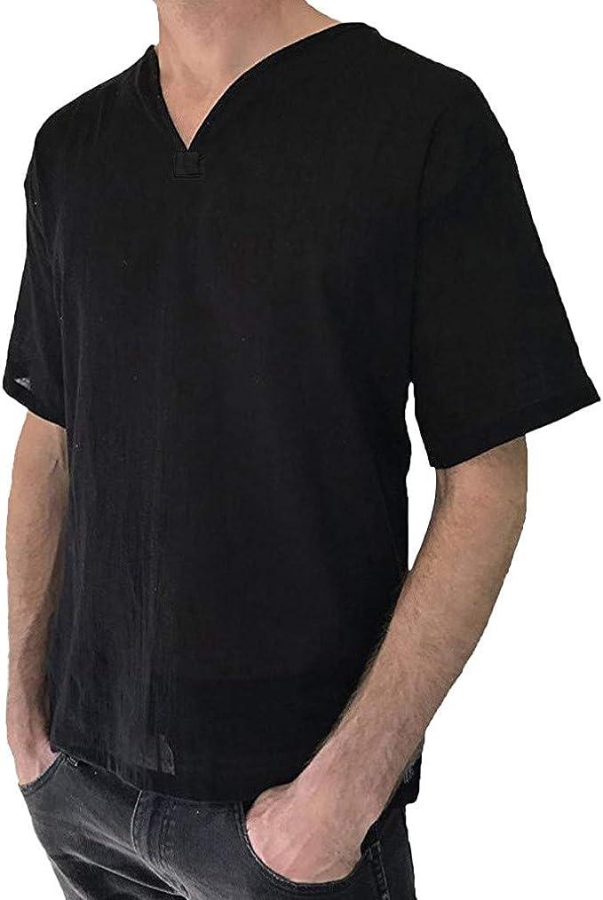 Amazon.com: KYLEON - Camisas de lino para hombre, manga ...
