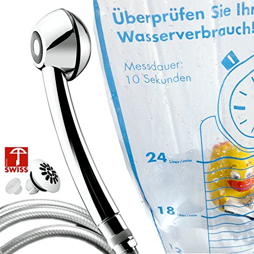 Duschkopf-Set SwissClima Chromette-Sport wassersparend, mit Schlauch + Softspray + 2 Regler + Messbeutel: erhöht den Druck, Massage- oder Regendusche, kalkfrei, vom SCHWEIZER HERSTELLER, 2-5 Jahre Garantie