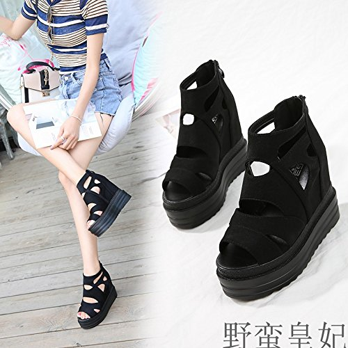 Bottom Wear Hollow Anti Shoes Shoes Thick Slip Wedge Thirty Rome Shoes Cake Women'S Sponge Summer Shoes Five KPHY Sandals Black And 1Yw6qf10