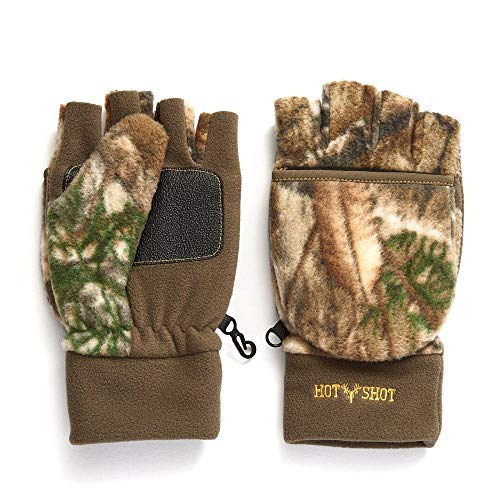 Hot Shot Men's Camo Bulls-Eye Fleece Pop-Top Mittens - Realtree Edge Outdoor Hunting Camouflage, X-Large