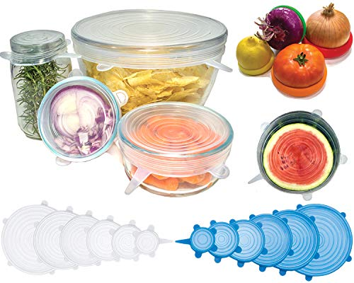Reusable Silicone Stretch Lids Set - 16 Pack Eco Food Savers and Stretchable Covers for Bowls, Kitchen Containers, Storage. Easy Airtight Seal for Fresh Fit. Plus Fruit and Vegetable Huggers.