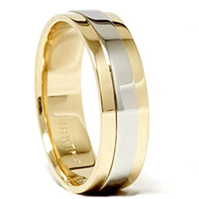 Mens 950 Platinum 18K Gold Two Tone Wedding Band New Amazoncom