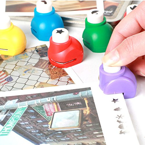 HuntGold 1X Random Color Hand Press Small Album Paper Craft Punch Embosser Dozen Flower Kit(castle)