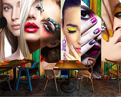 Mznm Custom Wallpaper HD Vintage Fashion Makeup Lip makeup Beauty salon Nail Shop Wall 3d wallpaper mural 400X280cm