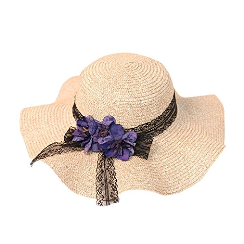 WILLTOO Straw Hat, Clearance Panama Jazz Beach Hat Bow&Lace Trilby Hats Sun Beach Caps for Women (Adjustable Home Wool Cap)