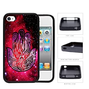 Colorful Hamsa Hand Nebula Series Hard Rubber Cell Phone Case Cover iPhone 4 4s (plant)