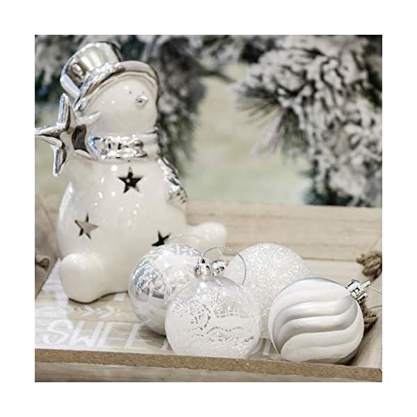 Victor's Workshop Addobbi Natalizi 24 Pezzi 6cm Palle di Natale, Frozen Winter Silver e White Shatterproof Christmas Ball Ornaments Decoration for Christmas Tree Decor 4 spesavip