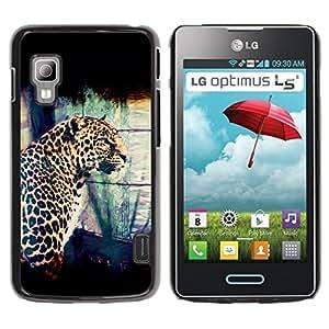 Be Good Phone Accessory // Dura Cáscara cubierta Protectora Caso Carcasa Funda de Protección para LG Optimus L5 II Dual E455 E460 // Leopard Spots Dots Big Cat Wild Portrait Art