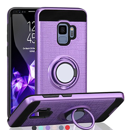 Samsung Galaxy S9 Case (5.8 inches),Ayoo 360 Degree Rotating Ring Magnetic Stand Fishnet Full Bodystocking Dual Layer Shock-Absorption for Galaxy S9 (2018)-ZK Purple