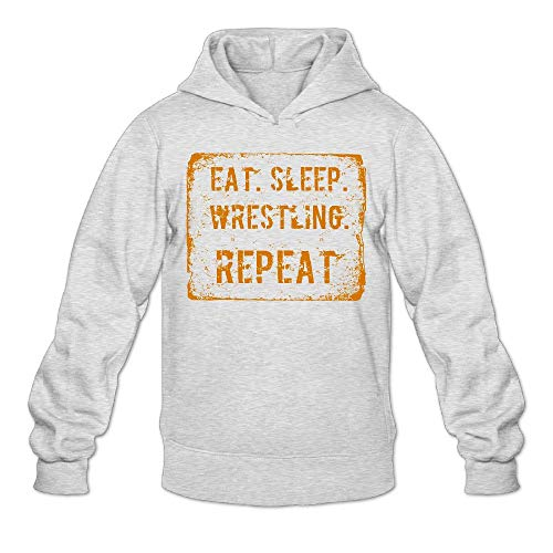 Aiw Wfdnn Male Hoodie Sweatshirt Slim Pullover Hooded Eat Sleep Wrestling Repeat by Aiw Wfdnn