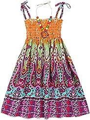 Cotrio Girls Boho Floral Summer Dress Outfits Toddler Kids Bohemia Rainbow Spaghetti Strap Hawaiian Beach Sund