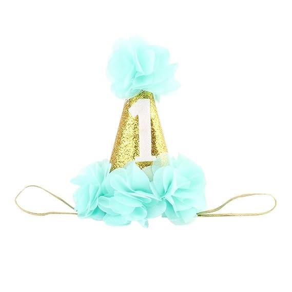 Mengonee Gorro de ducha 1r cumpleaños del sombrero del bebé fiesta de cumpleaños Foto Puntales Cinta de cabeza del recién nacido Partido del brillo