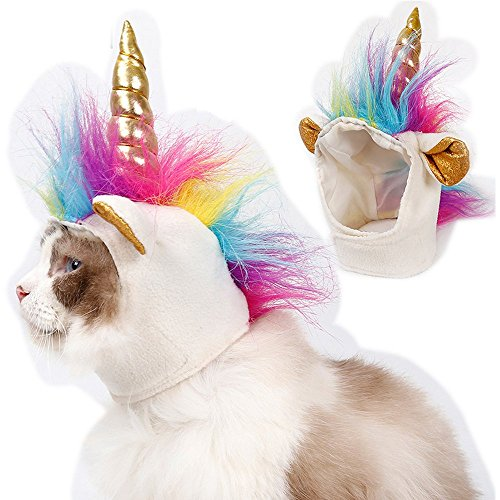 Pet Unicorn Hat for Small Dog Cat Puppy Accessory Adjustabale Cosplay Mane Cap Halloween -