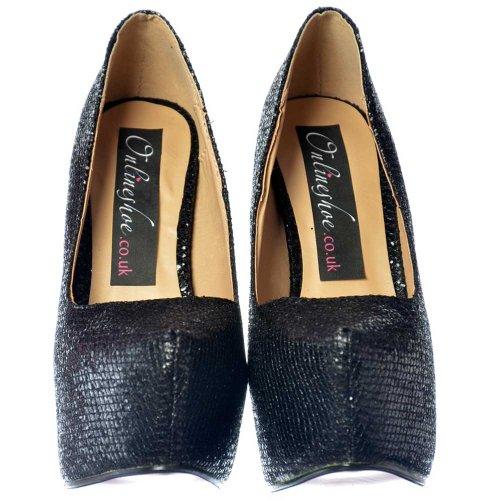 Señoras Reflejo De Mujeres Estilete Plataforma Zapatos Del Shimmer Brillo Negro Onlineshoe Glitter Ocultos Brillante Alto Talón IdIwq