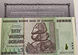 Zimbabwe 50 Trillion Dollar Banknote 2008, World Currency Inflation Record, with Certificate of Authenticity (COA) by TOGIT