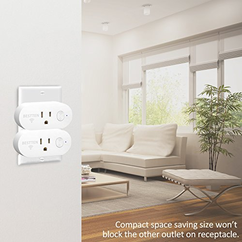 [2 Pack] BESTTEN 15A/1875W Mini Wi-Fi Smart Outlet with Energy Monitoring, Works with Amazon Alexa Echo and Google Home, Easy & Quick Set Up, No Hub Required, FCC Certified, White by BESTTEN (Image #6)