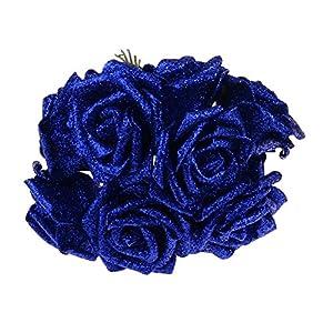 WDDH 10Pcs Artificial Glitter Rose Flowers Silk Foam Bouquet for Wedding Bridesmaid Bridal Bouquets 82