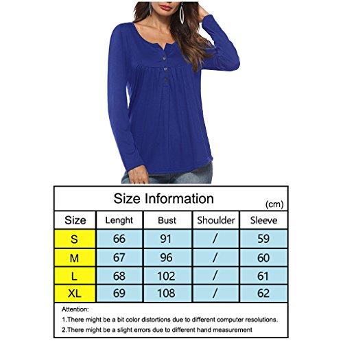 Manches Solide Fille bleu Longues Masterein Bouton Shirt T d't Femmes Tops Automne Couleur Avant z6zwBnIq