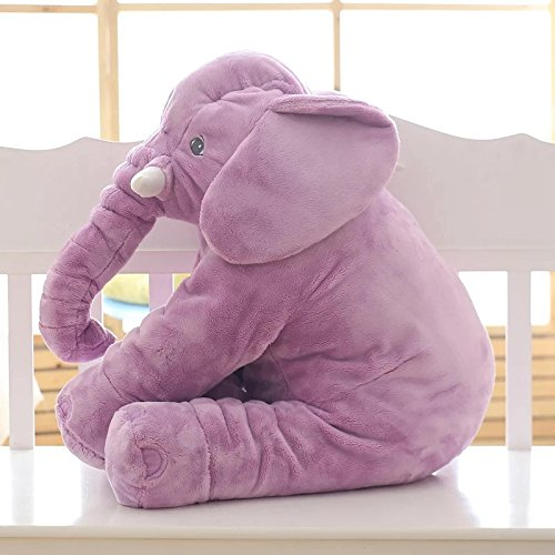 Rainbow Fox Long Nose Elephant Toys Soft Plush Stuff Dolls Lumbar Toys (Purple, Small) (Purple Elephant)