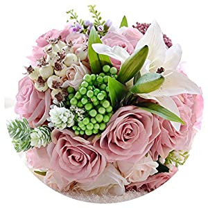 Jifnhtrs Beautiful Wedding Bouquet Assorted Roses Lily Bouquet Wedding Accessories Artificial Wedding Flowers Bride Bouquet 26