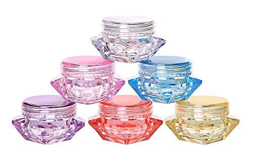 Wowlife 60Pcs 5 Gram/5 ML Cosmetic Sample Empty Container Diamond Plastic Jars for Cream, Eye Shadow, Nails, Powder, Jewelry, Lip balms, Toners ()