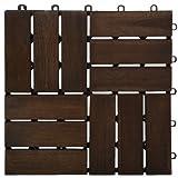 Garden Winds DT02-DB Twelve Slat Deck Tiles, Mahogany, 10 Count