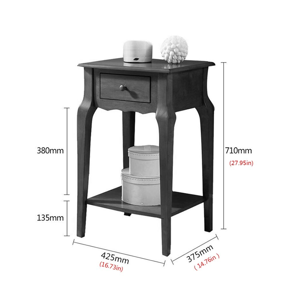 JCNFA TABLES Sofa End Table Solid Wood Bedroom Nightstand Small Square Table with Side Cabinets Wood Table with Drawer 70cm High Side Table Color : Dark Walnut, Size : 16.73 * 14.76 * 27.95in