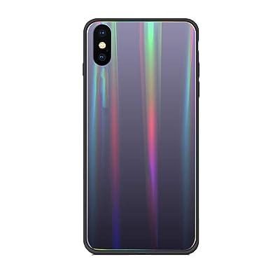 Alsoar Colorido Funda Compatible para Huawei Maimang 6/ Nova 2I Vidrio Templado 9H Aurora Gradient Marmol Cristal Anti-Rasguño Protectora Carcasa Bordes de Silicona TPU Bumper Caso Case(Gris Morado): Electrónica