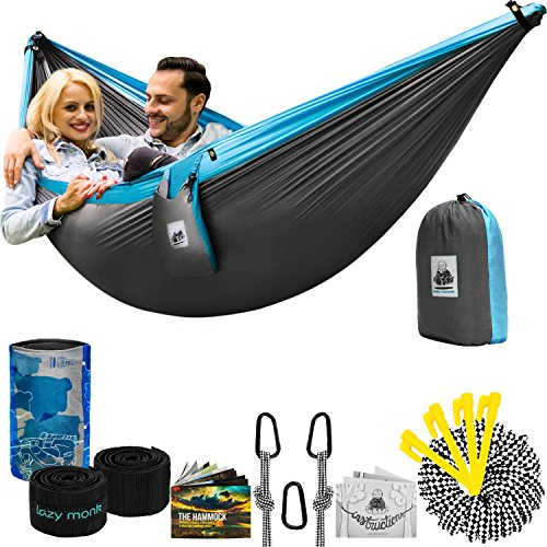 Double Camping Hammock With Straps – UNIQUE 4in1│Complete Fast Setup Hammocks Bundle, Waterproof, Lightweight Parachute Nylon, in Compression