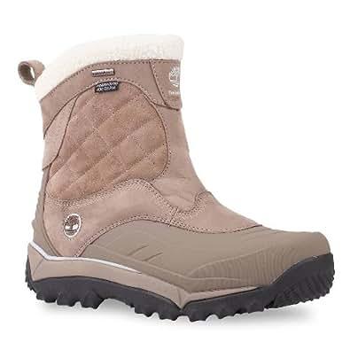 Timberland Women's Rime Ridge Side Zip Waterproof Boot,Greige Full Grain Leather/Suede,US 10 W