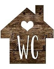 Logbuch-Verlag Wc-bord toiletbord houtlook huisjes bruin wit - schild toilet neutraal mannen & vrouwen gastentoilet deurbordje