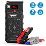 LEMSIR V1 QDSP 2000A Peak 21000mAh Car Jump Starter, Portable 12V Auto Battery Jumper up to 8.0L Gas, 8.0L Diesel, Booster Power Pack with Smart Jumper Cables,Wireless Charger