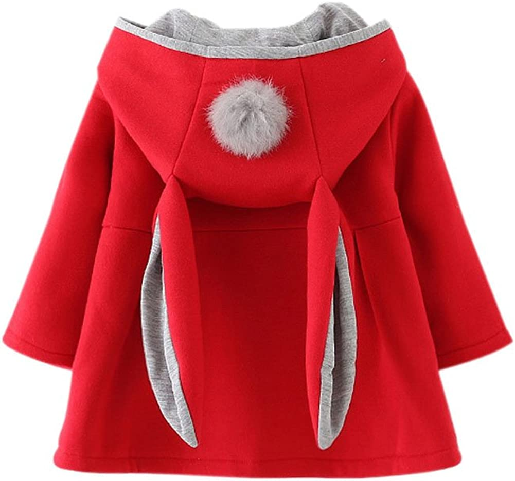 Forart Sweet Toddler Girl Rabbit Ear Coat Kids Baby Winter Outwear Cotton Jacket