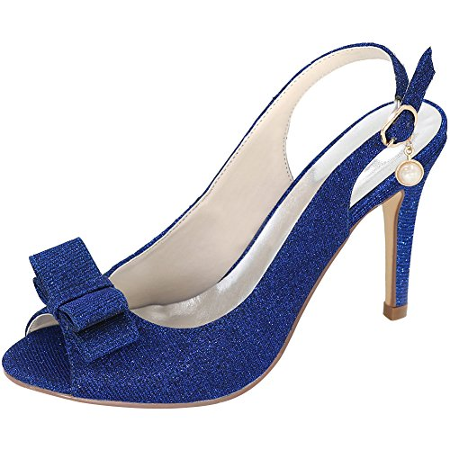 Loslandifen Damessweep Peep Toe Enkelbandje Pumps Gesp Stiletto Hoge Hakken Trouwschoenen Blauwe Glitter