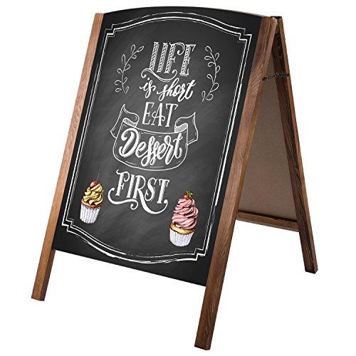 MyGift Rustic Wood A-Frame Chalkboard Dual-Sided Sidewalk Sign by MyGift