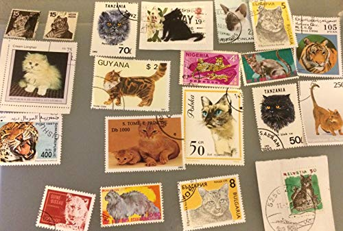 20 Cats, colorful collectible stamps from all over the world