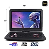 15.6'' Portable DVD Player CD Player (Black) with HD 1366x768 Digital TFT 270° Swivel Screen Built-In Rechargeable Battery