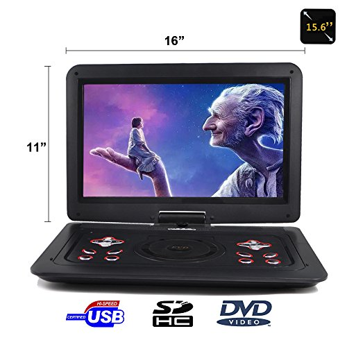15.6'' Portable DVD Player CD Player (Black) with HD 1366x768 Digital TFT 270° Swivel Screen Built-In Rechargeable Battery by FENGJIDA